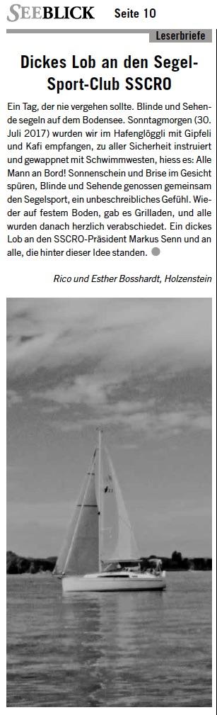 Segeln mit behinderten Menschen SSCRo Romanshorn
